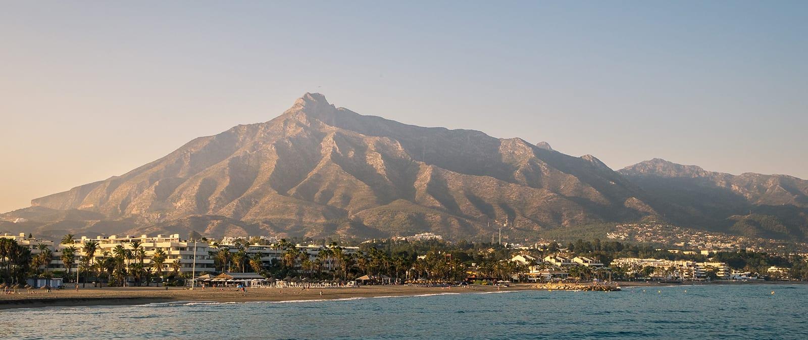 La Concha Mountain overlooking Meditteranean sea in sunset
