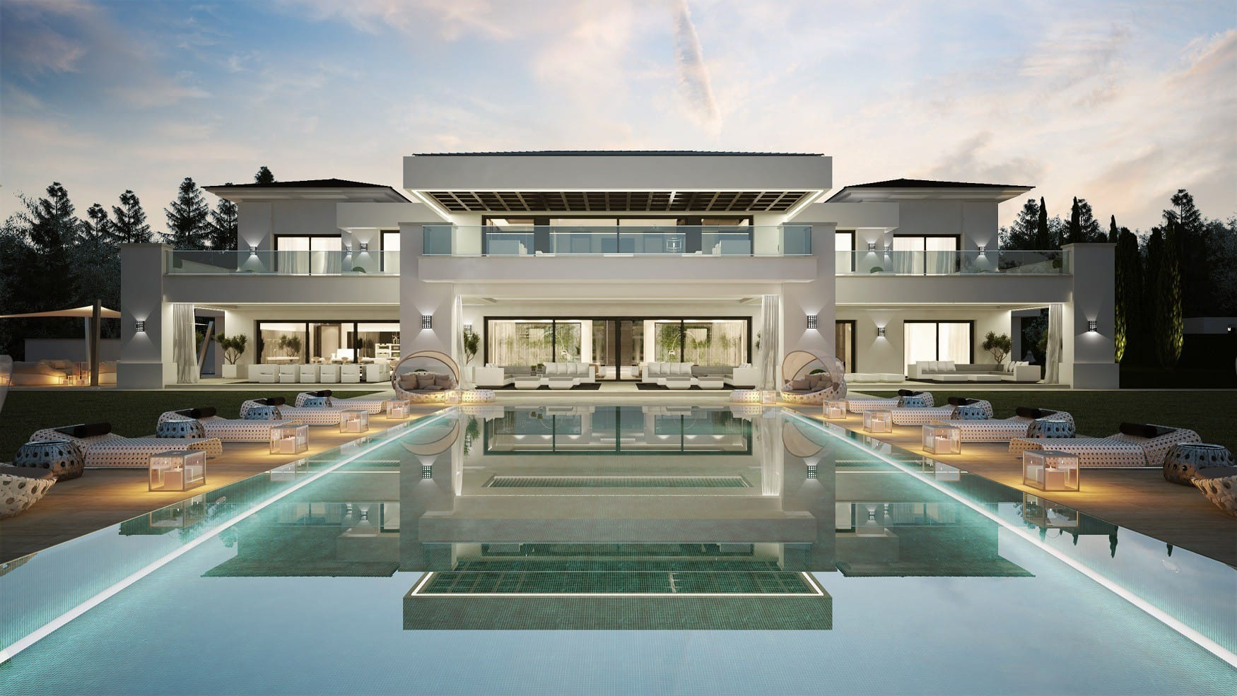 Modern and contemporary villas in marbella for Pool villa design